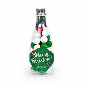Personalized Christmas Retro Champagne Bottle with Sixlets Candies - 25 Pack
