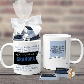 Father's Day Gifts Personalized 11oz Coffee Mug with approx. 24 Wrapped Hershey's Miniatures - My Favorite People Call Me Grandpa