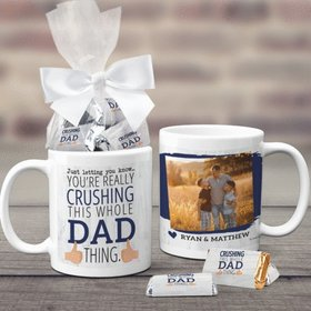 Father's Day Gifts Personalized 11oz Coffee Mug with approx. 24 Wrapped Hershey's Miniatures - Crushing It