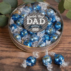 Personalized Father's Gift Gifts Large Plastic Tin with Lindt Truffles (24pcs) - Established Dad