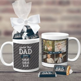 Father's Day Gifts Personalized 11oz Coffee Mug with approx. 24 Wrapped Hershey's Miniatures - Established Dad