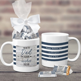 Father's Day Gifts Personalized 11oz Coffee Mug with approx. 24 Wrapped Hershey's Miniatures - Dad Everyone Wishes For