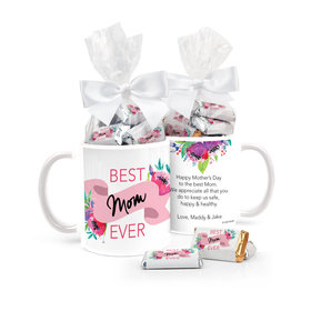 Personalized Mother's Day Best Mom Ever 11oz Mug with approx. 24 Wrapped Hershey's Miniatures