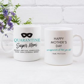 Personalized Mother's Day Super Mom 11oz Mug Empty