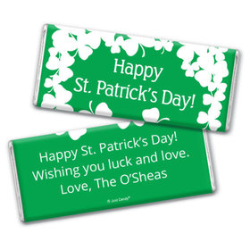 St. Patrick's Day Personalized Chocolate Bar White Clovers on Green