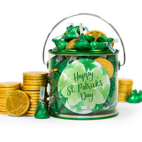St. Patrick's Day Watercolor Hershey's Kisses & Gold Coins Filled Green Paint Can