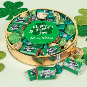 Personalized St. Patrick's Day Clover Large Plastic Tin with Hershey's Chocolate Mix