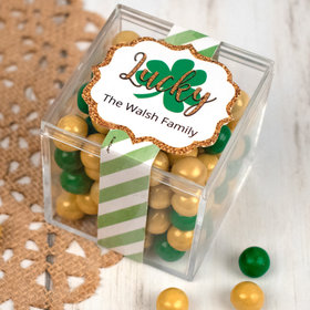Personalized St. Patrick's Day JUST CANDY® favor cube with Sixlets Chocolate