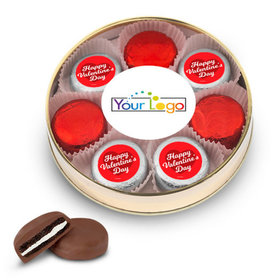 Add Your Logo Valentine's Day Gold Large Plastic Tin with 8 Chocolate Covered Oreo Cookies