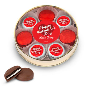 Personalized Valentine's Day Script Heart Gold Large Plastic Tin - 8 Chocolate Covered Oreo Cookies