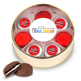Add Your Logo Valentine's Day Gold Extra Large Plastic Tin - 16 Chocolate Covered Oreo Cookies