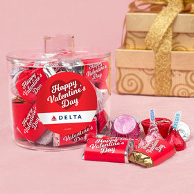 Personalized Valentine's Day Classic Heart Add Your Logo Container with Hershey's Mix