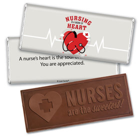 Personalized Nurse Appreciation Working Heart Embossed Thank You Chocolate Bars