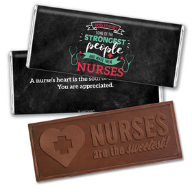 Personalized Nurse Appreciation Strongest People Embossed Thank You Chocolate Bars
