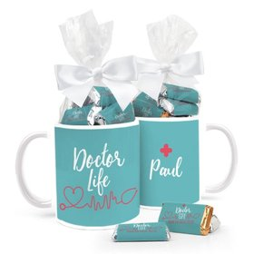 Personalized Doctor Appreciation 11oz Mug with approx. 24 Wrapped Hershey's Miniatures