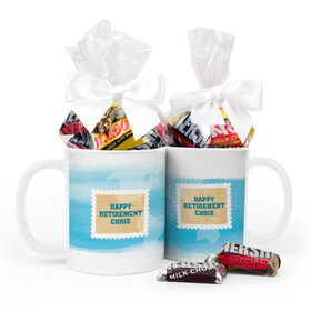 Personalized Retirement Stamps 11oz Mug with Hershey's Miniatures