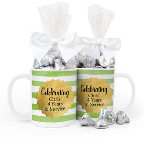 Personalized Retirement Gold Badge 11oz Mug with Hershey's Kisses