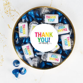 Thank You Large Plastic Tin Hershey's Miniatures, Kisses & Peanut Butter Cups