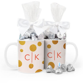 Personalized Anniversary Gold Dots 11oz Mug with Hershey's Kisses