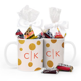 Personalized Anniversary Gold Dots 11oz Mug with Hershey's Miniatures