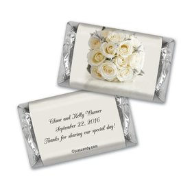 Wedding Favor Personalized Hershey's Miniatures White Roses Bouquet