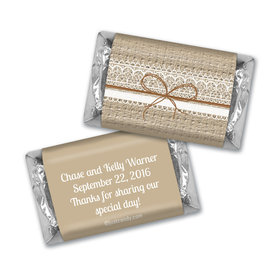 Wedding Favor Personalized Hershey's Miniatures Burlap and Lace