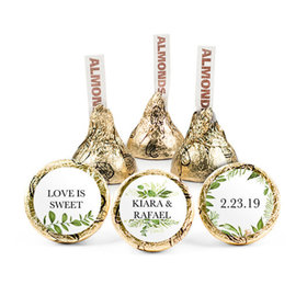 Personalized Wedding Whimsical Greenery Hershey's Kisses (50 pack)