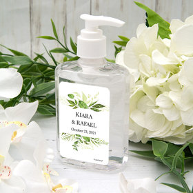 Personalized Hand Sanitizer 8 fl. oz bottle - Wedding Botanical Greenery