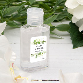 Personalized Hand Sanitizer 2 fl. oz bottle - Wedding Botanical Greenery