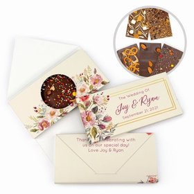 Personalized Wedding Blooming Bouquet Gourmet Infused Belgian Chocolate Bars (3.5oz)