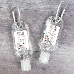 Personalized Hand Sanitizer with Carabiner 1 fl. oz bottle - Wedding Heart Love