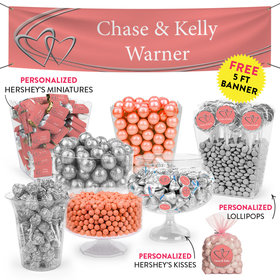 Personalized Wedding Linked Hearts Deluxe Candy Buffet