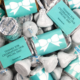 Wedding Tiffany Themed Bow Mix Hershey's Miniatures, Kisses and JC Peanut Butter Cups