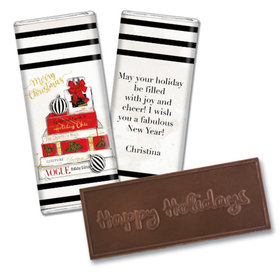 Personalized Christmas Holiday Chic Embossed Chocolate Bar