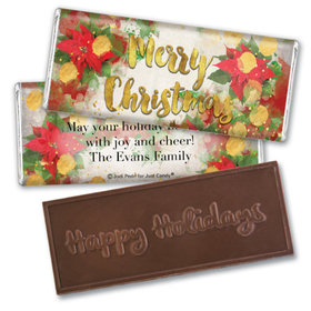 Personalized Christmas Holly Embossed Chocolate Bar