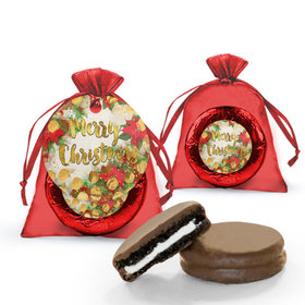 Christmas Holly Chocolate Covered Oreo Cookie in Organza Bags with Gift tag