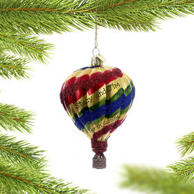 Personalized Hot Air Balloon (Rainbow) Christmas Ornament