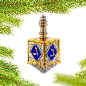 Personalized Glass Dreidel Christmas Ornament