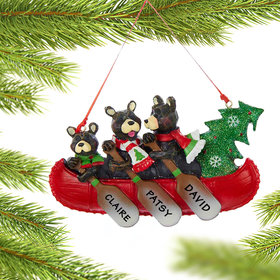 Personalized Bear Canoe Family 3 Christmas Ornament