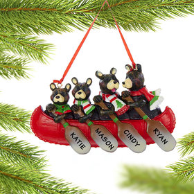 Personalized Bear Canoe Family 4 Christmas Ornament