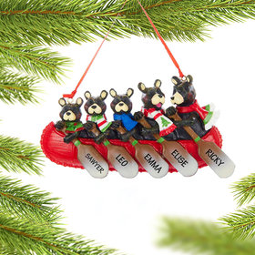 Personalized Bear Canoe Family 5 Christmas Ornament