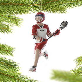 Personalized Lacrosse Boy Running Down Field Christmas Ornament