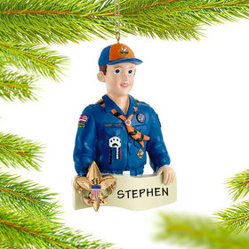 Personalized Cub Scout Badge on Banner Christmas Ornament