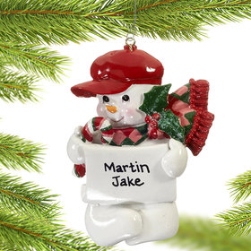 Personalized Snowman Kids Gatsby or Newsboy Hat Christmas Ornament
