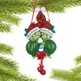 Personalized Turtle Siblings Christmas Ornament