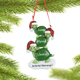 Personalized Turtle Family of 3 Christmas Ornament
