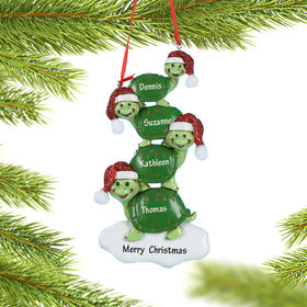 Personalized Turtle Family of 4 Christmas Ornament