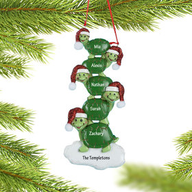 Personalized Turtle Family of 5 Christmas Ornament
