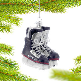 Personalized Pair of Glass Hockey Skates Christmas Ornament