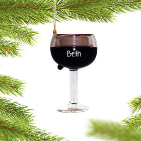 Personalized Balloon Red Wine Glass Christmas Ornament